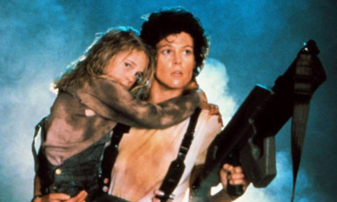 Ripley with Newt and gun.